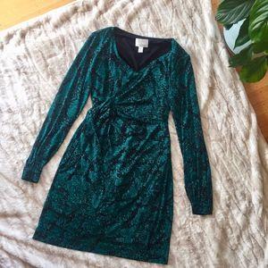 DONNA MORGAN snake print faux wrap dress - 0